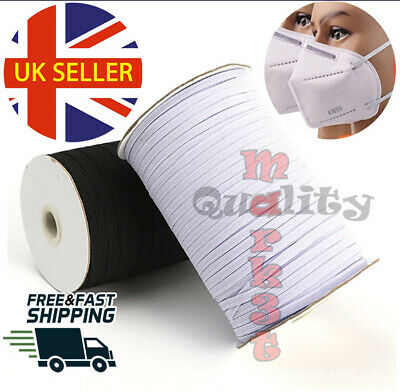 3mm WHITE BLACK ELASTIC CORD, FLAT BRAIDED ,STRETCH STRING SEWING CRAFT MASK UK