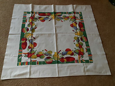 Vintage Cotton Tablecloth Southwest Mexico Hispanic Design Fruits 41x44    6f5
