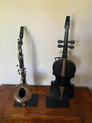 2x Decorative Musical Instruments for Display - Violin & Saxophone On Stands