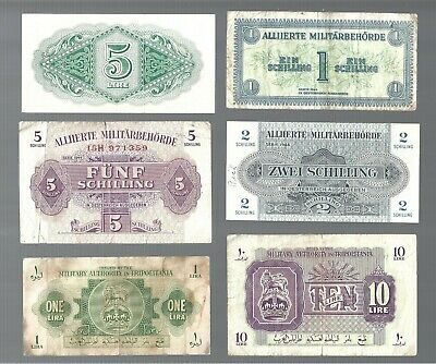 Military Currency 🎇 various 6 pcs note 🎇 Collections & lots #747