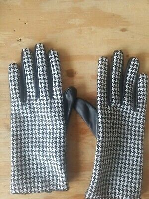 WORTHINGTON Black and White Checkered Leather Womens gloves size small
