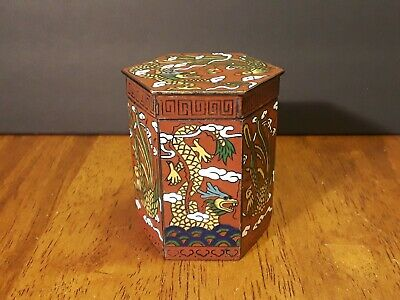 "ANTIQUE CHINESE ""Dragon & Phoenix"" Cloisonne Enamel Snuff Box/Trinket Jar SIGNED"