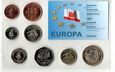 Specimen Gibraltar Uncirculated Coin Set, Mixed dates from £2 to 1p 2004/ 2005