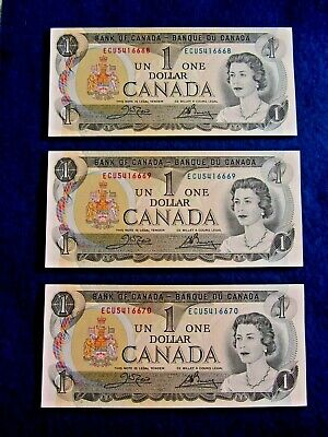 Canadian  Bank Note  3   One  Dollar  Bills  Of  1973 * All  Consecutives  Gem *