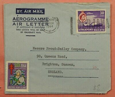 Dr Who 1964 Singapore Aerogramme To Gb 153969