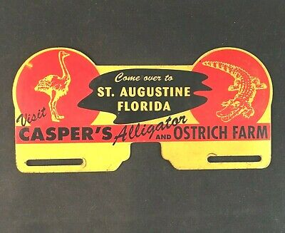 CASPERS ALLIGATOR AND OSTRICH FARM LICENSE PLATE TOPPER Rare Advertising Sign
