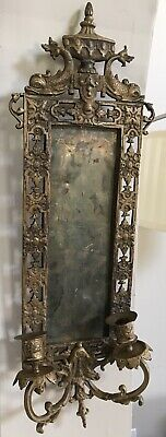 1800's Victorian Rococo Bronze Wall Sconce w/ Dolphins