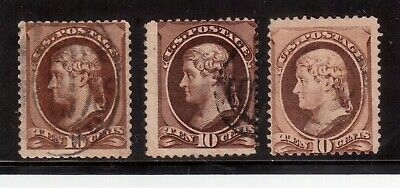 Usa 1870 Used #150, Lot Of 3 Stamps, Jefferson  !!  F56
