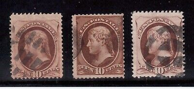 Usa 1870 Used #150, Lot Of 3 Stamps, Jefferson  !!  F57