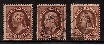 Usa 1870 Used #150, Lot Of 3 Stamps, Jefferson  !!  F55