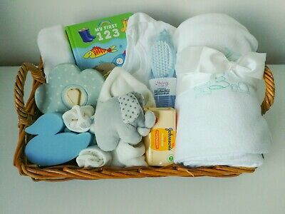 Newborn Baby Boys Gift Basket Hamper Shower Essentials Blanket Maternity Toys