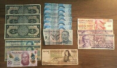 MEXICO Paper Money Lot 1693 Pesos 1000 100 50 20 1