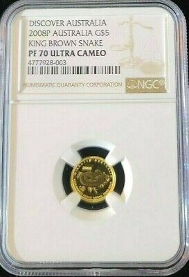 2008 Australia Gold $5 King Brown Snake Ngc Pf 70 Ultra Cameo Perfection Pop 1