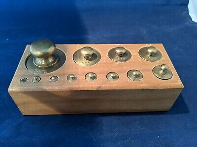 Vintage Solid Brass Gram Scale Weight Set in Wood Box 1-500 grams