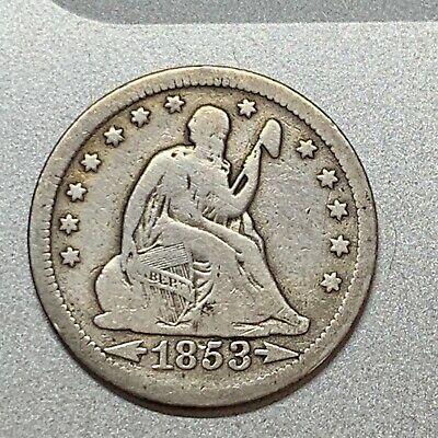 1853 Arrows & Rays Seated Liberty Quarter Nice Detail Key Type Coin
