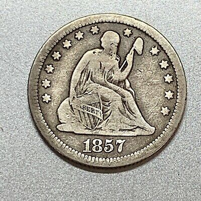 1857 Seated Liberty Quarter Nice Detail Key Type Coin
