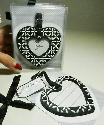 KATE ASPEN INC Black & White HEART Luggage Tag 2011 New in Package