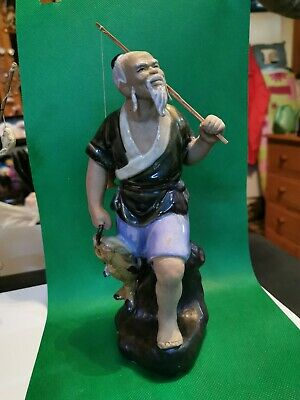 Chinese vintage Victorian oriental antique large fisherman figurine C
