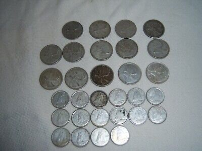 1950-64 Canada Silver Quarters X 14 Plus 16 Silver Dimes Canadian