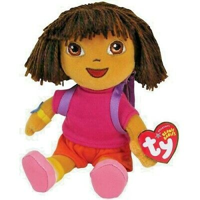 "New Ty Beanie Babies Baby Original Dora The Explorer With Backpack 8"" Plush Gift"