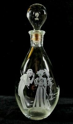 Vintage 1950s IWHarper Empty Bourbon Whiskey Etched Glass Decanter W Stopper VF