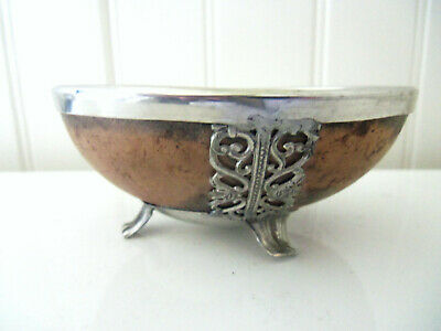 Rare Coconut Shell and Silver Footed Bowl
