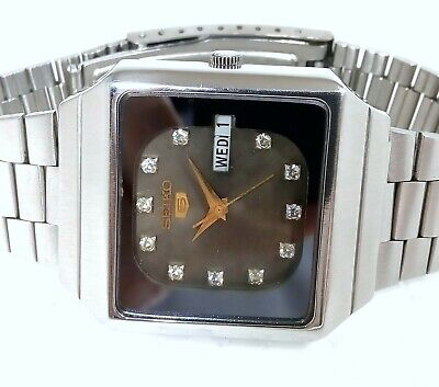 Seiko 5 Automatic Japan Day Date Super Designer Grey Stone Dial Men's Watch 35mm