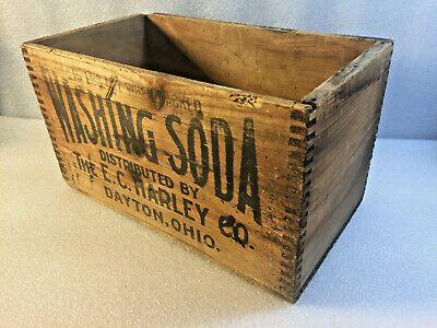 Antique Ec Harley Washing Soda Soap Box Advertising Wooden Dovetailed Crate