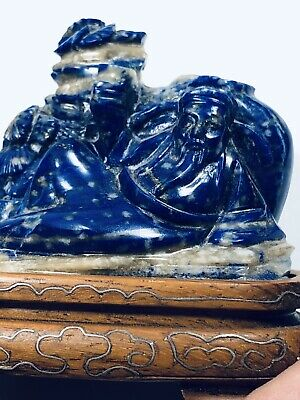 Antique Chinese Lapis Lazuli  Snuff Bottle Of Buddha On Silver Inlaid Stand.