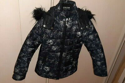 Girls black and roses jacket age 6 from Geox Respira VGC