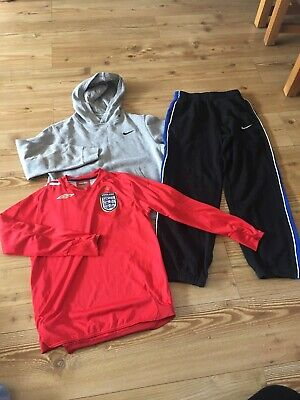BOYS SPORTS CLOTHES BUNDLE JUNIOR L 12-13 Years Nike Hoodie Joggers England Top