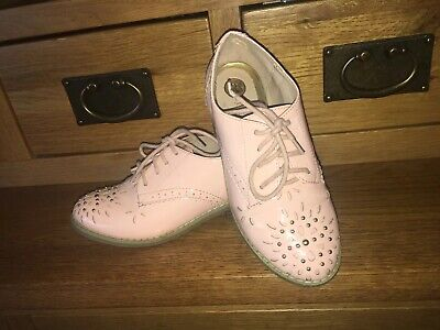 River Island Girls Brogues Patent Shoes Size Uk 13 Pink Stunning Vgc