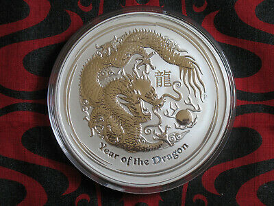 Australia 10 oz 2012 Lunar Year of the Dragon.  .999 Fine Silver.  BU