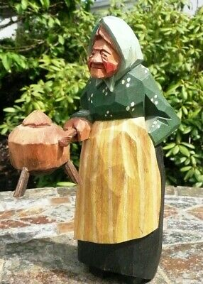 Swedish WOOD CARVING - LADY HOLDING KAFFE POT - GUNNARSSON 1954  - Sweden