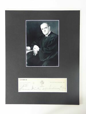 Sherman Minton SIGNED Matted 11x14 Display Supreme Court Justice Autographed Vtg