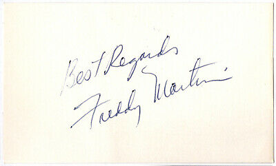 Vintage 3x5 card - Signed by Freddy Martin - Big Band Jazz