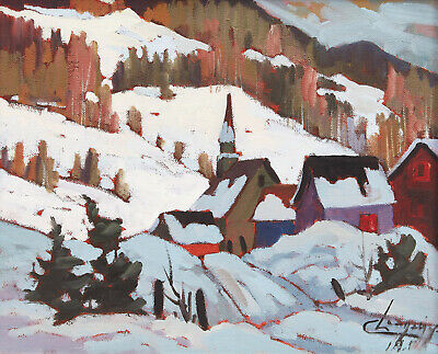 Claude Langevin, Canadian, oil painting, 1988, provenance, 10 x 12 in