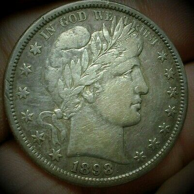 1898-S Better Date Barber Silver Half Dollar VF Condition  Lot #C462