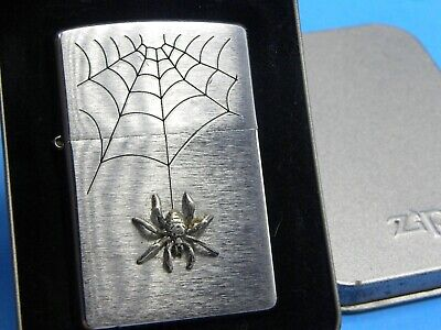 Zippo '02 - LARGE Spider Emblem(Silver/Pewter) Hanging From Web - MINTY Beauty!