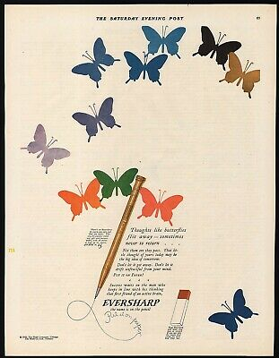 Vintage magazine ad EVERSHARP PENCILS 1926 The Wahl Co pencil and butterflies