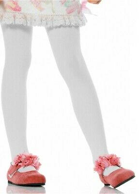 GIRLS Age 7 to 10 Years FLOWER PANTYHOSE TIGHTS STOCKINGS WHITE BALLET Costume