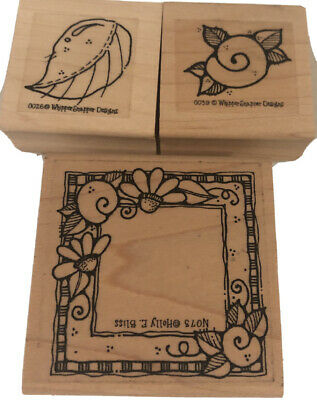 WHIPPER SNAPPER DESIGNS WOOD RUBBER STAMP 3 whimsical Flowers Frames And Leave