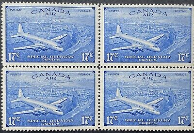 Canada Air Mail Special Delivery Stamps #CE4 Block, Mint OG NH