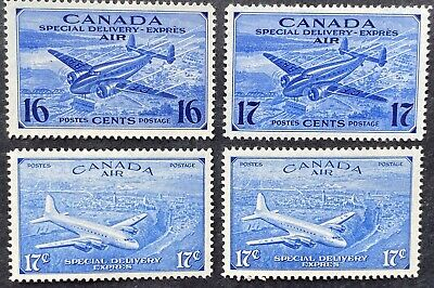 Canada Air Mail Special Delivery Stamps #CE1 - CE4, Mint OG LH