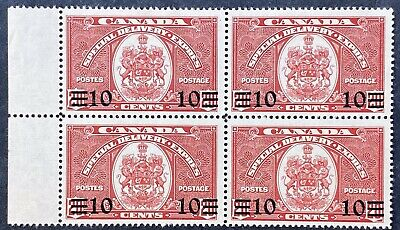 Canada Special Delivery Stamps #E9 Block, Mint OG LH