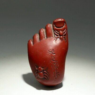 Collectable China Old Red Coral Hand-Carved Buddha Foot Moral Bring Luck Statue