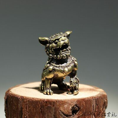 Collectable China Old Bronze Hand-Carved Myth Lion Moral Auspicious Decor Statue