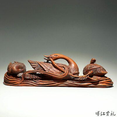 Collectable China Antique Boxwood Hand-Carved Three Elegant Swan Delicate Statue