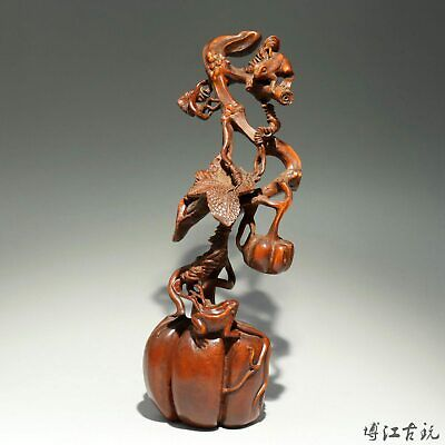 Collectable China Old Boxwood Hand-Carved Persimmon & Squirrel Delicate Statue