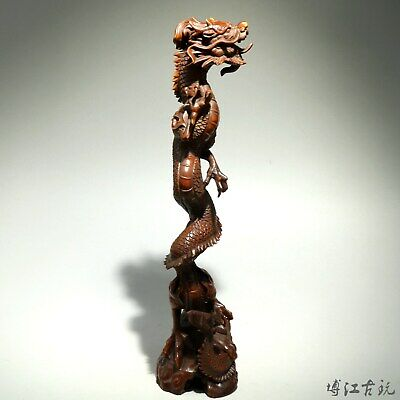 Collectable China Old Boxwood Hand-Carved Myth Dragon Moral Auspicious Statue